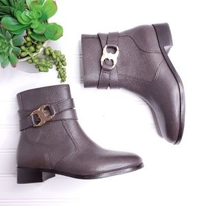 Tory Burch Gemini Link Brown Ankle Boots 6M